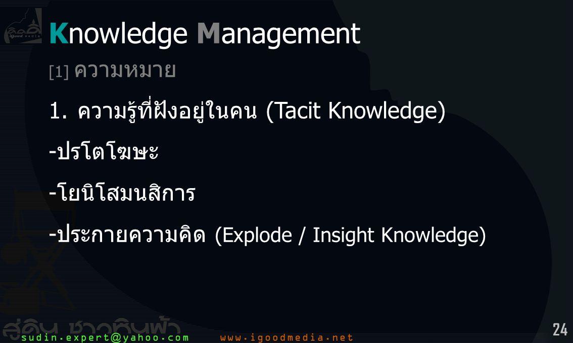 Knowledge Management 1. ความรู้ที่ฝังอยู่ในคน (Tacit Knowledge)