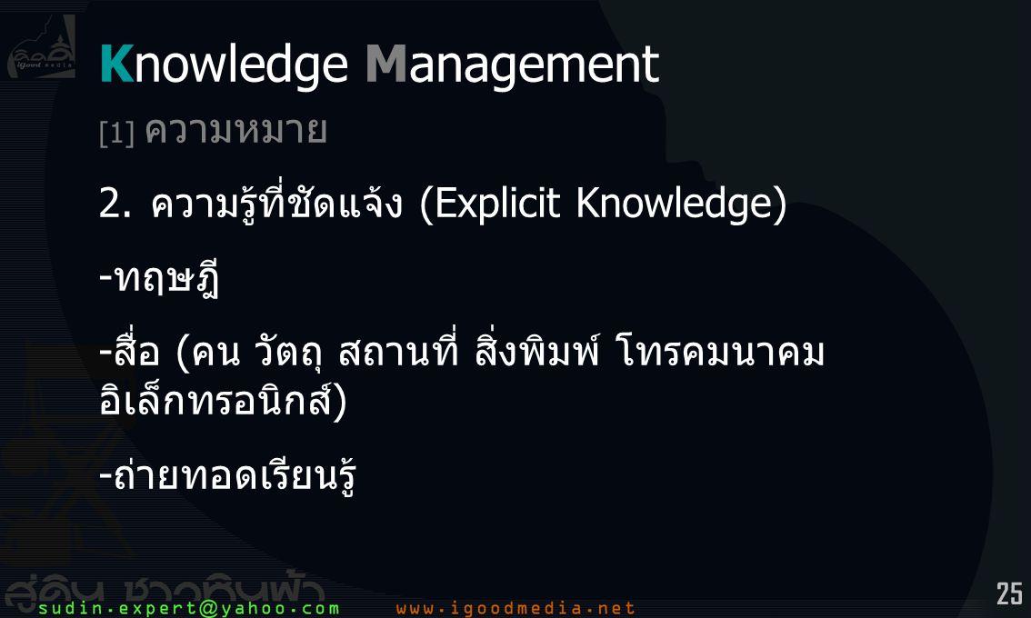 Knowledge Management 2. ความรู้ที่ชัดแจ้ง (Explicit Knowledge) -ทฤษฎี