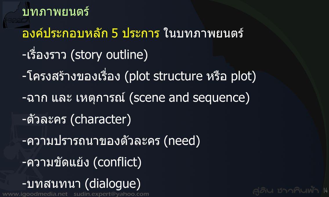 บทภาพยนตร์ องค์ประกอบหลัก 5 ประการ ในบทภาพยนตร์ -เรื่องราว (story outline) -โครงสร้างของเรื่อง (plot structure หรือ plot)