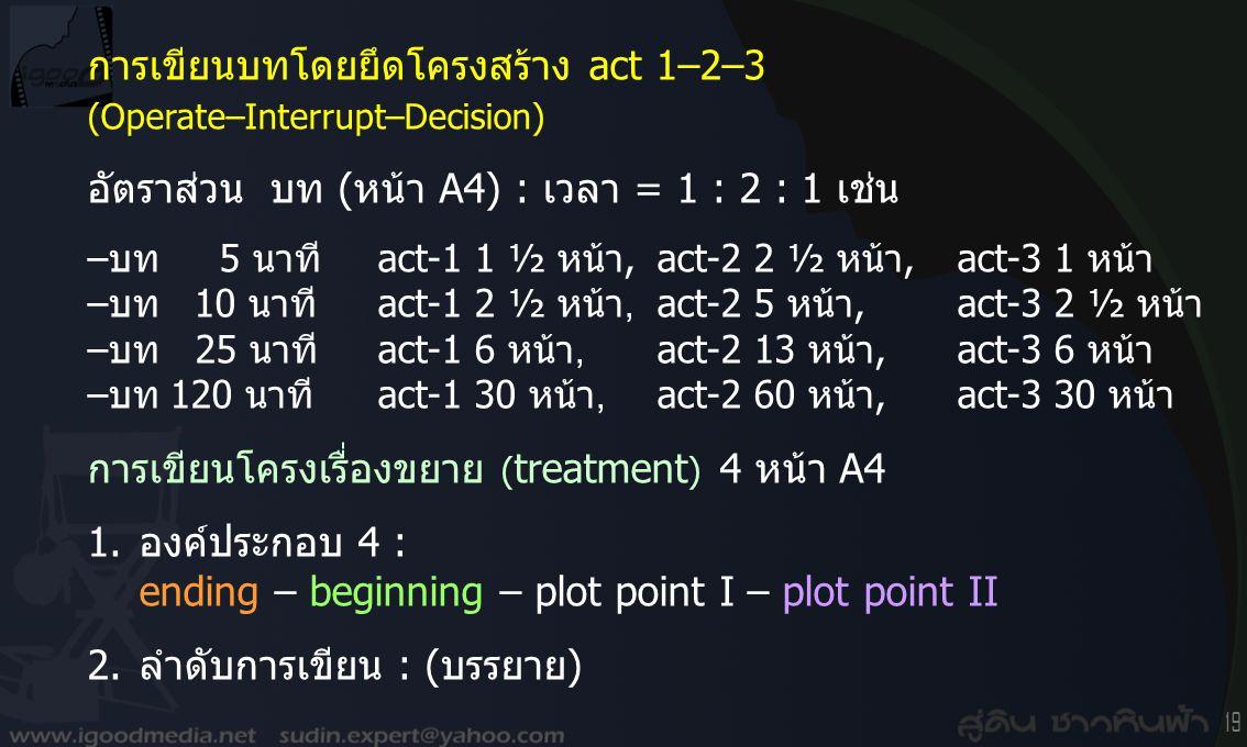 การเขียนบทโดยยึดโครงสร้าง act 1–2–3 (Operate–Interrupt–Decision)