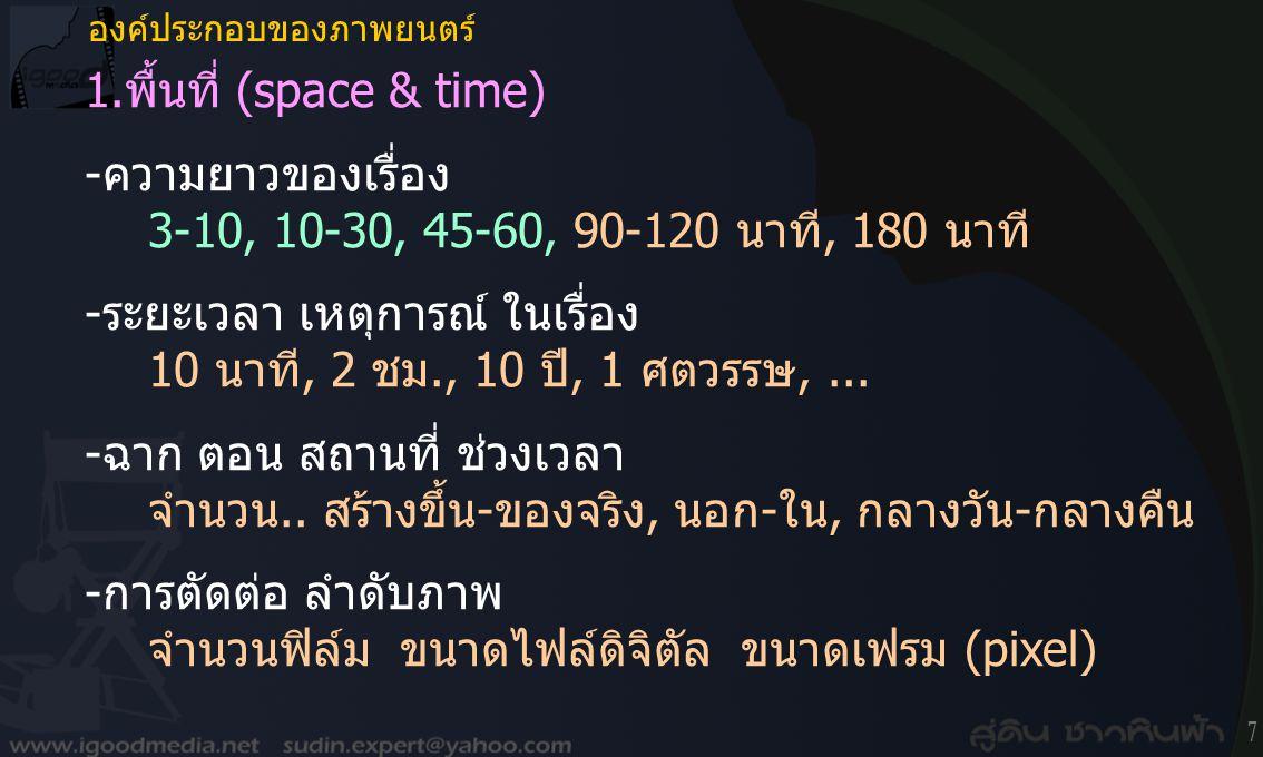 -ความยาวของเรื่อง 3-10, 10-30, 45-60, 90-120 นาที, 180 นาที