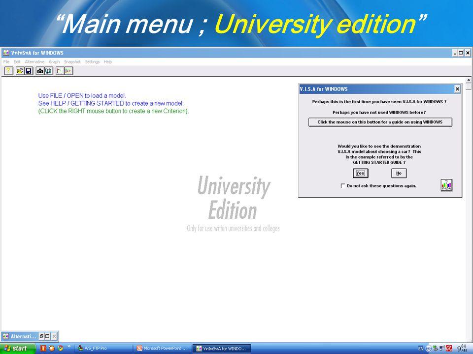 Main menu ; University edition