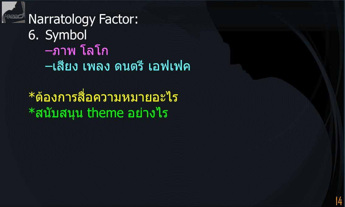 Narratology Factor: 6. Symbol. –ภาพ โลโก. –เสียง เพลง ดนตรี เอฟเฟค.