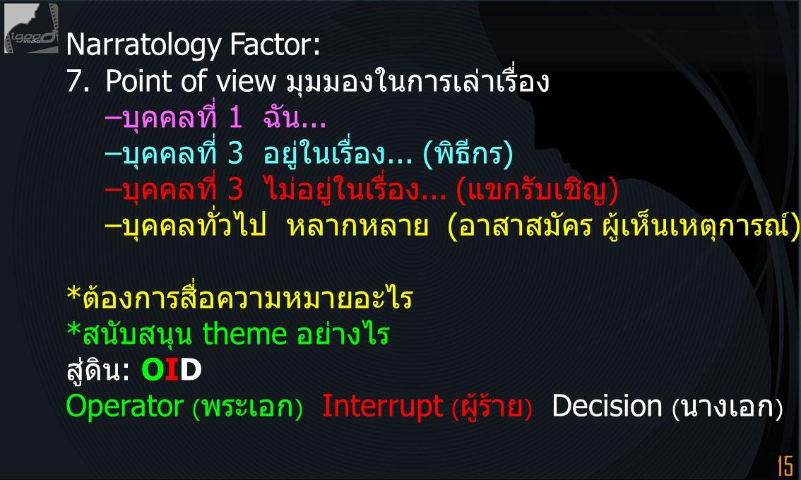 Narratology Factor: 7. Point of view มุมมองในการเล่าเรื่อง. –บุคคลที่ 1 ฉัน... –บุคคลที่ 3 อยู่ในเรื่อง... (พิธีกร)