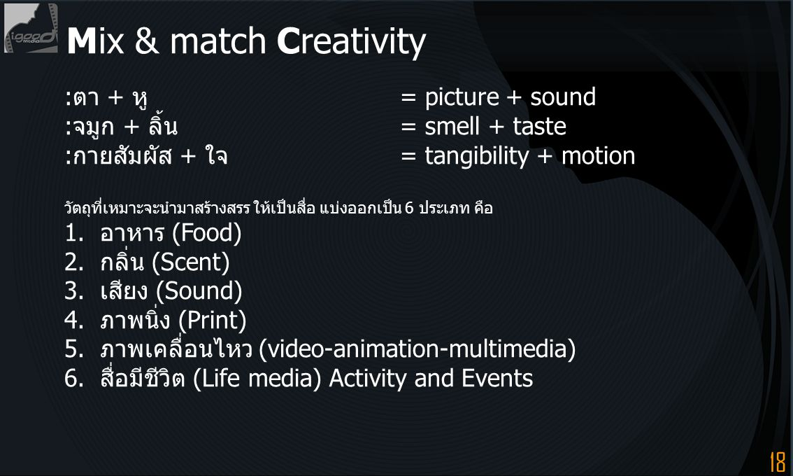 Mix & match Creativity :ตา + หู = picture + sound