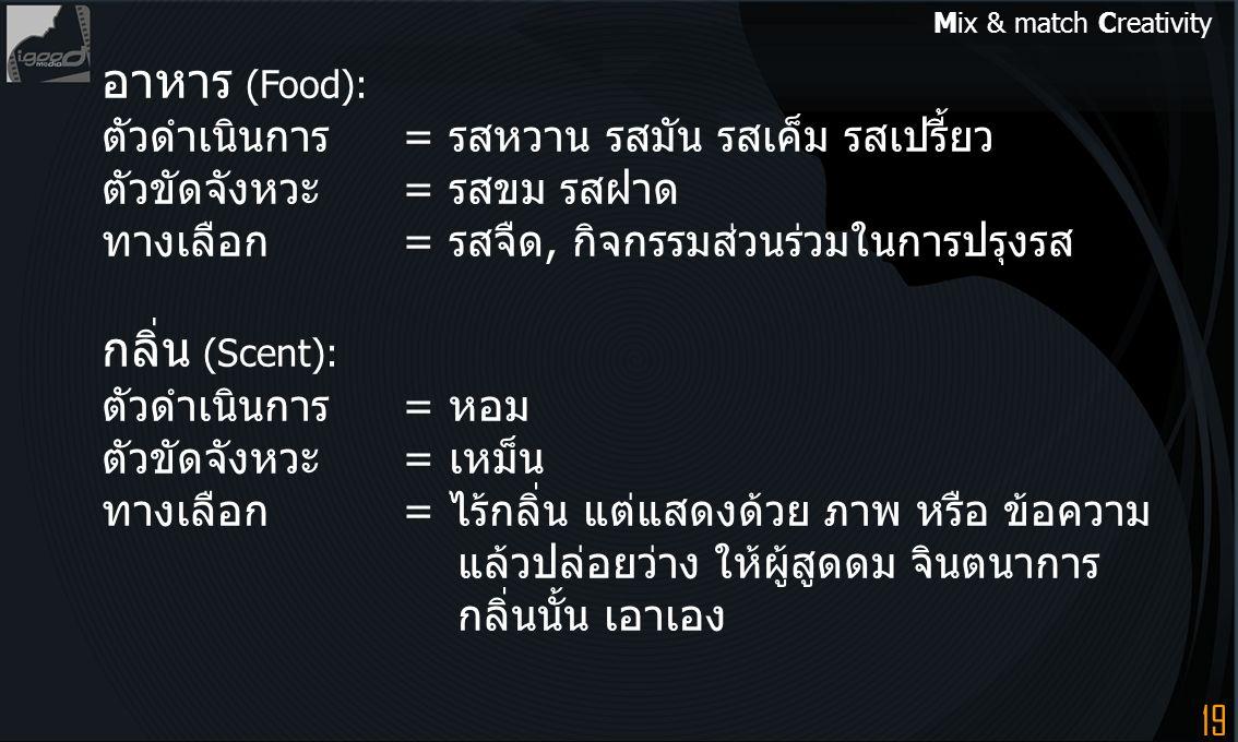 อาหาร (Food): กลิ่น (Scent):