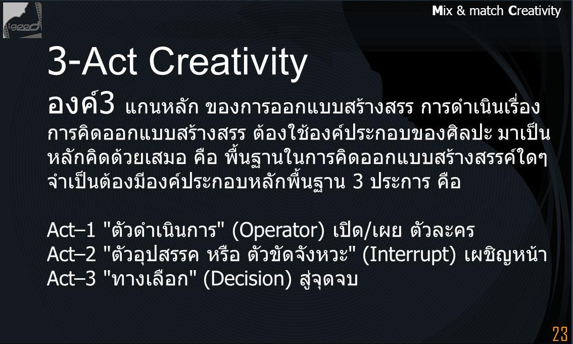 3-Act Creativity องค์3 แกนหลัก ของการออกแบบสร้างสรร การดำเนินเรื่อง