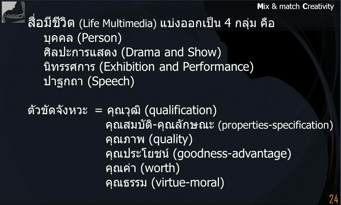 สื่อมีชีวิต (Life Multimedia) แบ่งออกเป็น 4 กลุ่ม คือ