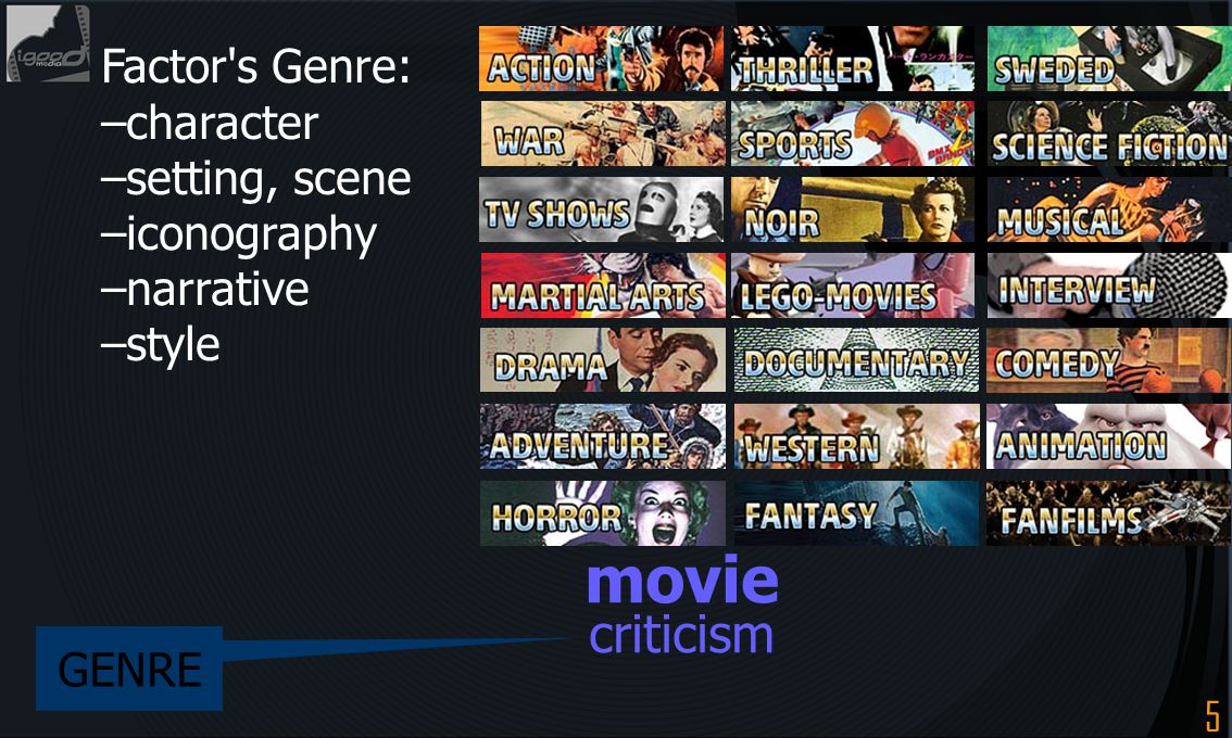 movie criticism Factor s Genre: –character –setting, scene