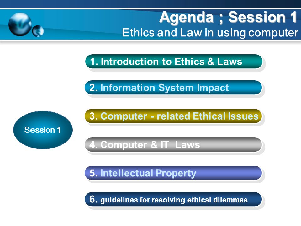 Agenda ; Session 1 Ethics and Law in using computer