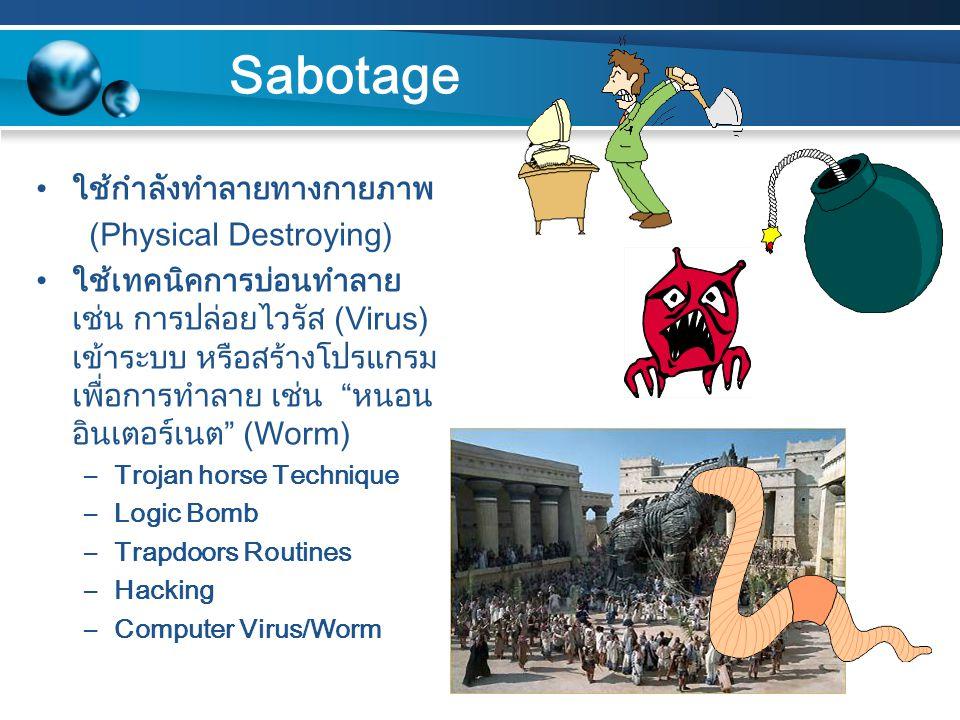 Sabotage ใช้กำลังทำลายทางกายภาพ (Physical Destroying)