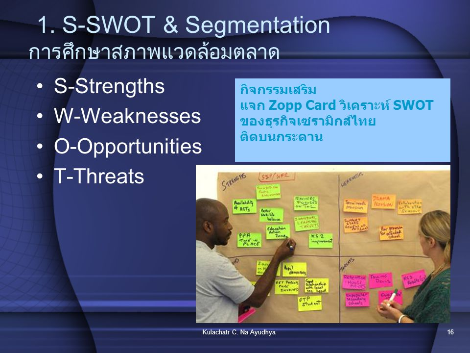 1. S-SWOT & Segmentation การศึกษาสภาพแวดล้อมตลาด