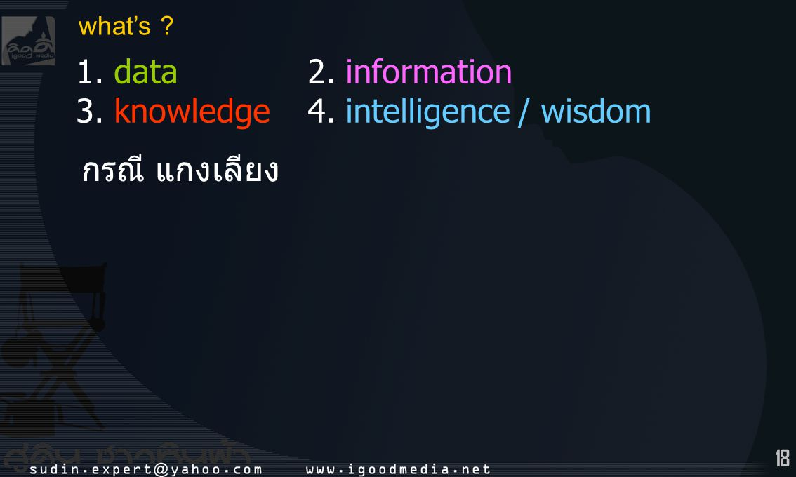 what's 1. data 2. information 3. knowledge 4. intelligence / wisdom กรณี แกงเลียง