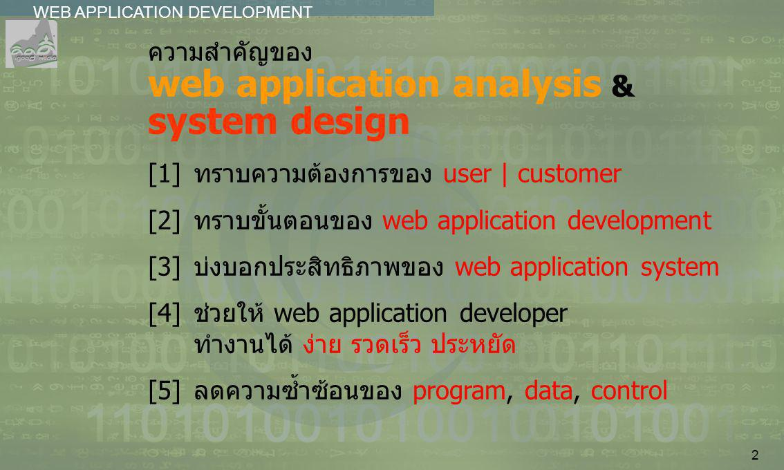 ความสำคัญของ web application analysis & system design