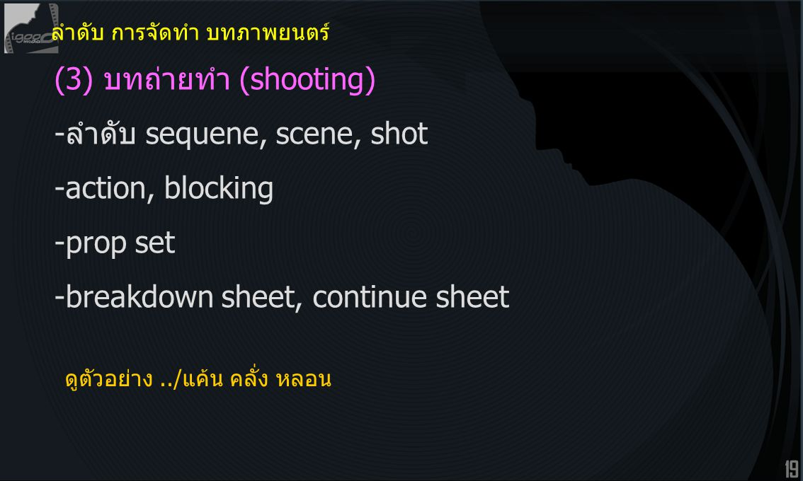 (3) บทถ่ายทำ (shooting) -ลำดับ sequene, scene, shot -action, blocking