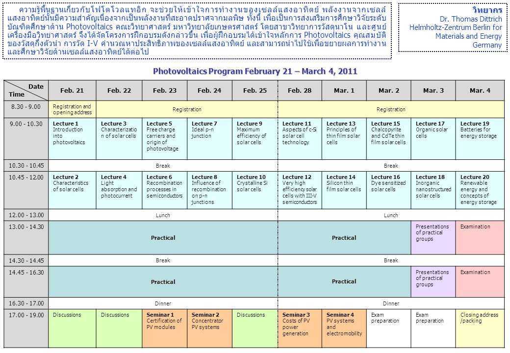 Photovoltaics Program February 21 – March 4, 2011