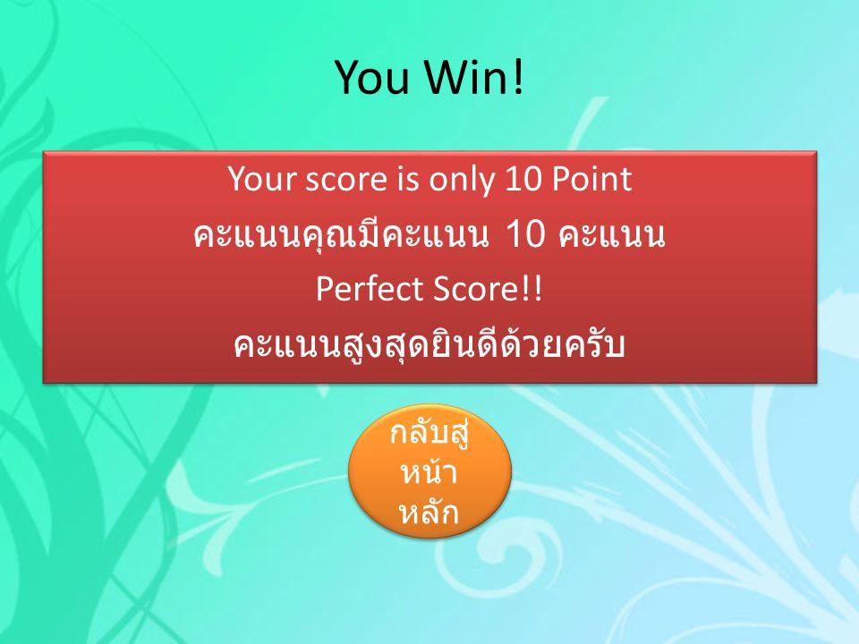 You Win! Your score is only 10 Point คะแนนคุณมีคะแนน 10 คะแนน Perfect Score!! คะแนนสูงสุดยินดีด้วยครับ