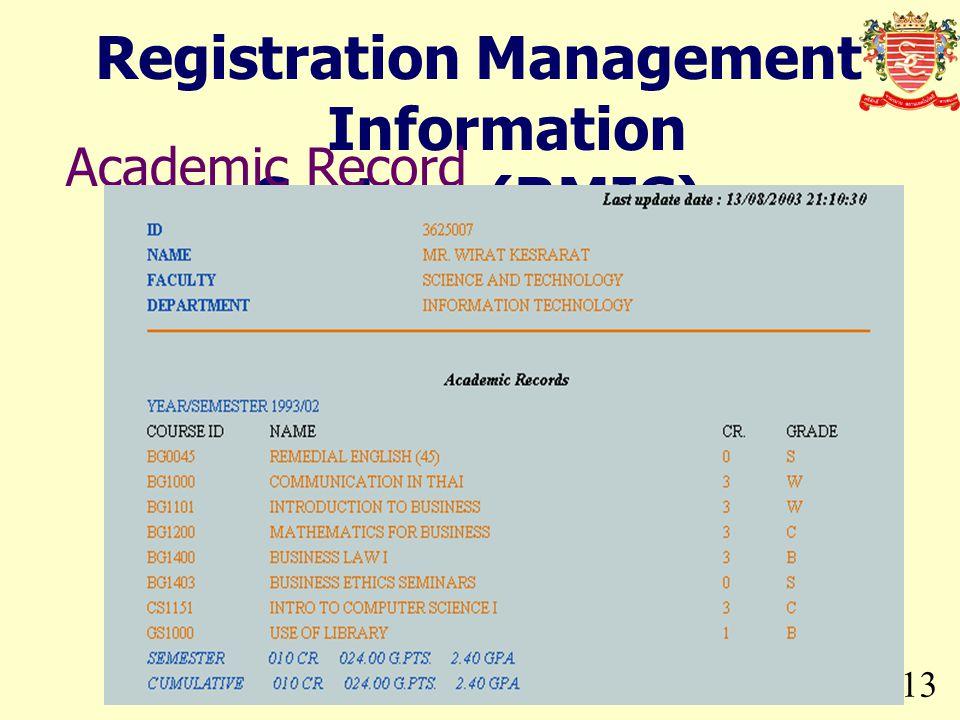 Registration Management Information