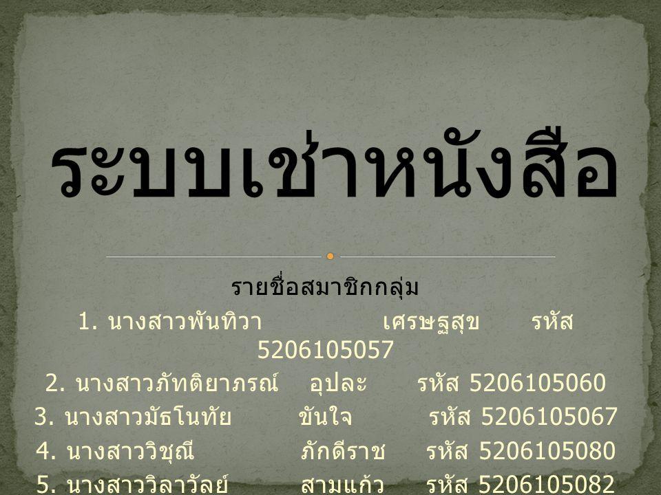 ระบบเช่าหนังสือ รายชื่อสมาชิกกลุ่ม