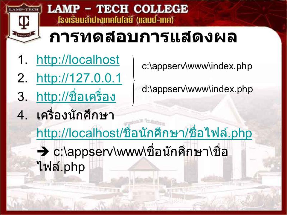 การทดสอบการแสดงผล http://localhost http://127.0.0.1 http://ชื่อเครื่อง