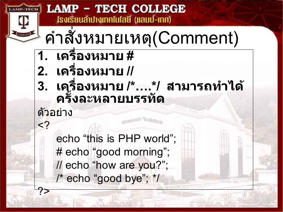 คำสั่งหมายเหตุ(Comment)