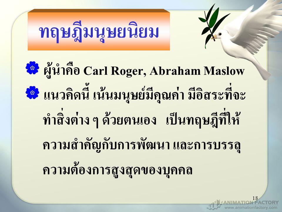 ทฤษฎีมนุษยนิยม ผู้นำคือ Carl Roger, Abraham Maslow