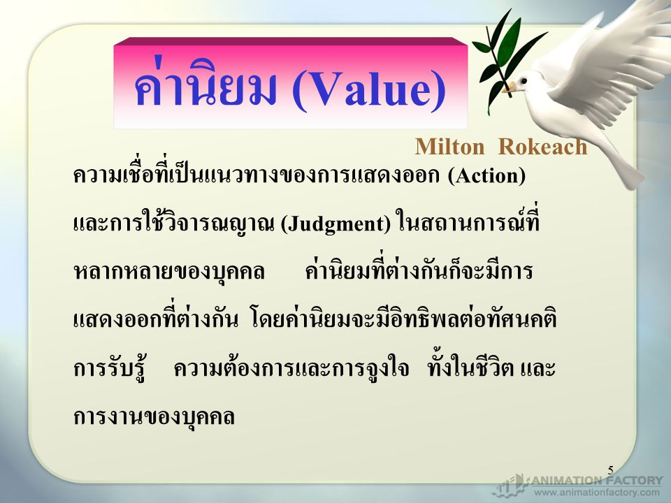 ค่านิยม (Value) Milton Rokeach