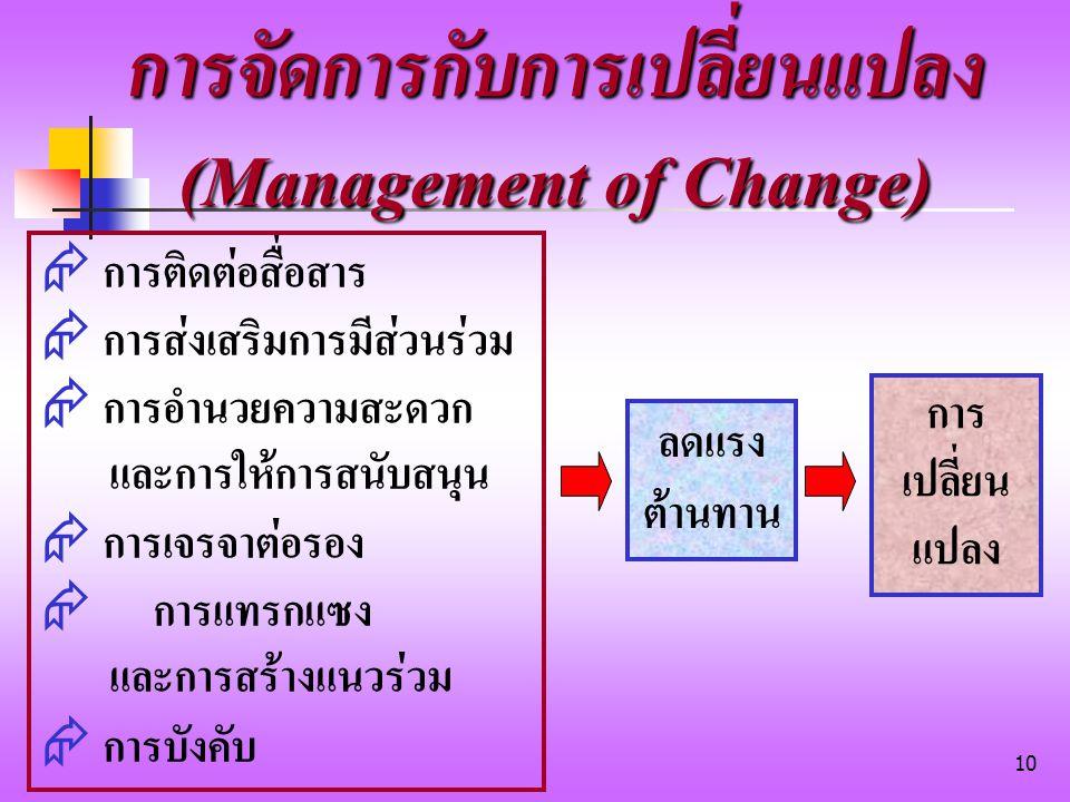 การจัดการกับการเปลี่ยนแปลง (Management of Change)