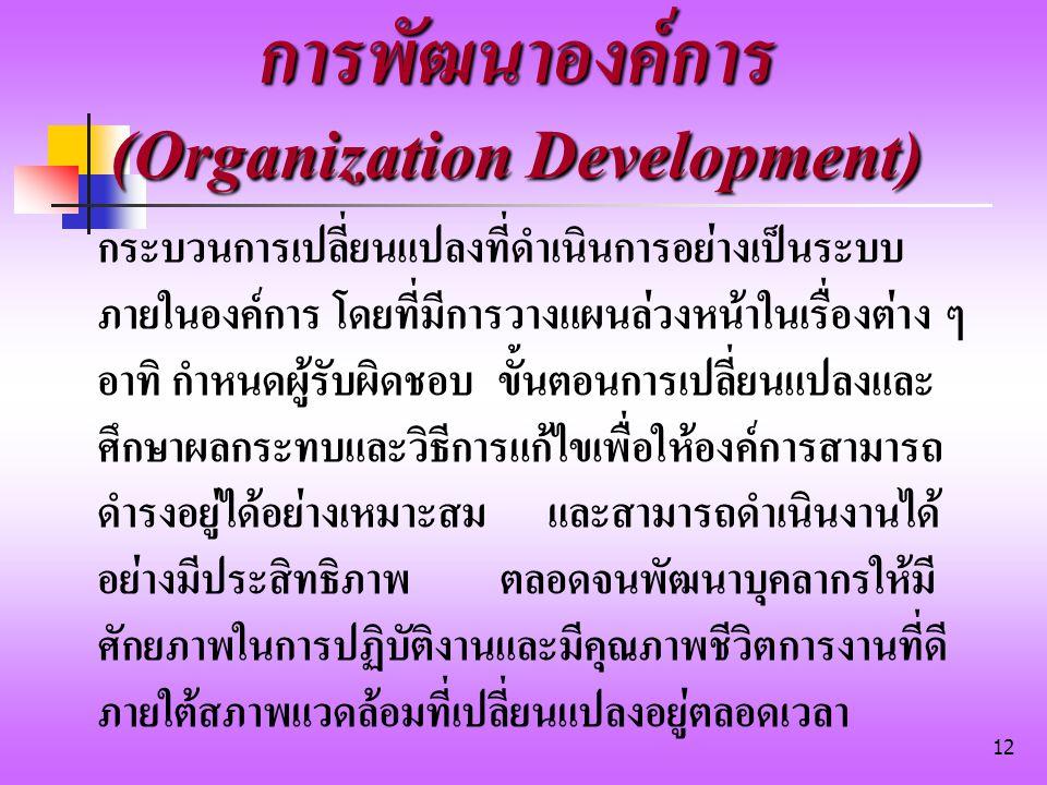 การพัฒนาองค์การ (Organization Development)