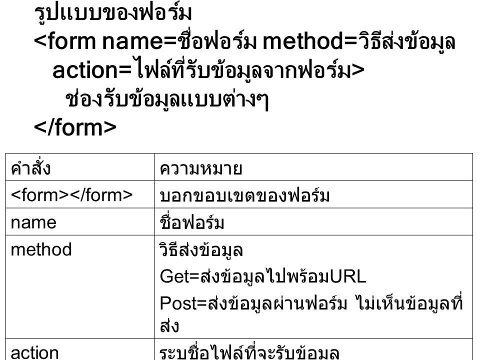 <form name=ชื่อฟอร์ม method=วิธีส่งข้อมูล