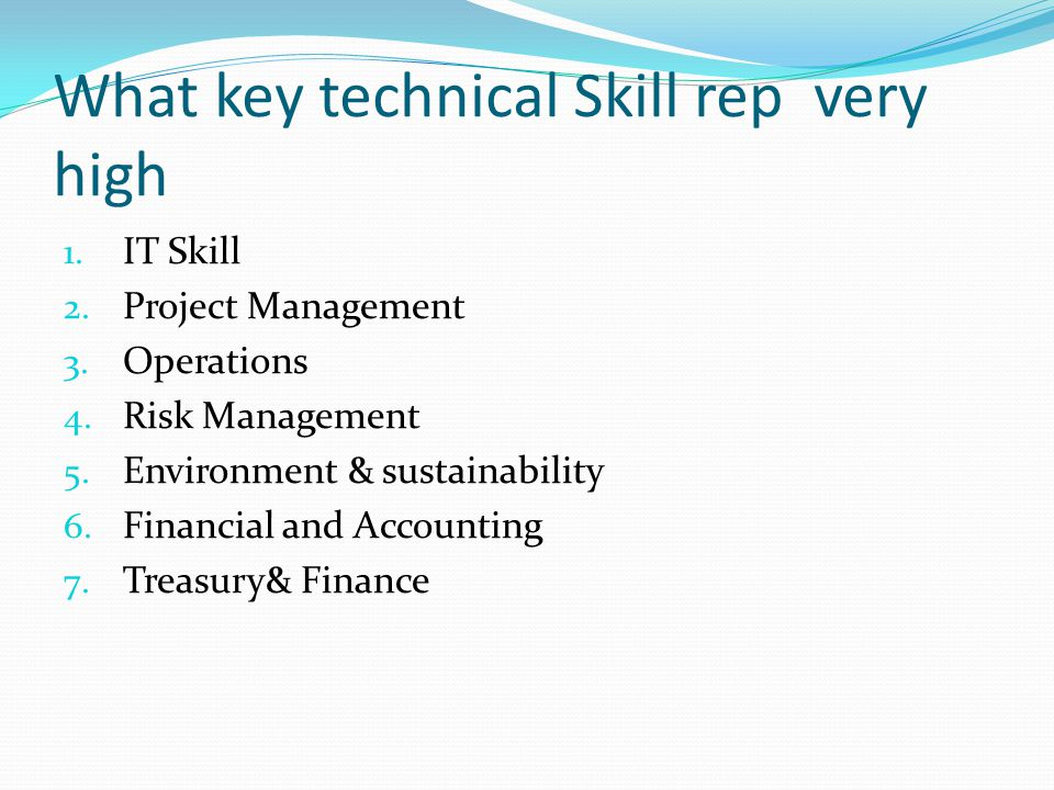 What key technical Skill rep very high