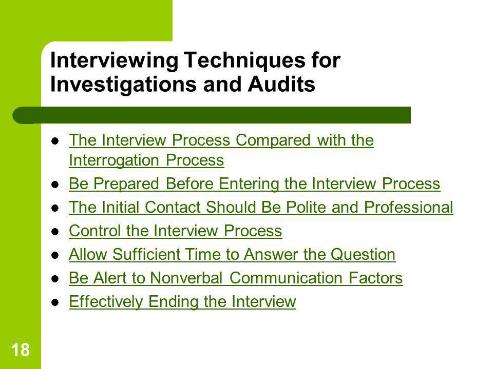 Interviewing Techniques for Investigations and Audits