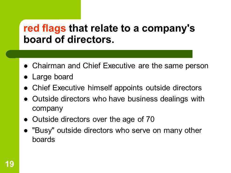 red flags that relate to a company s board of directors.