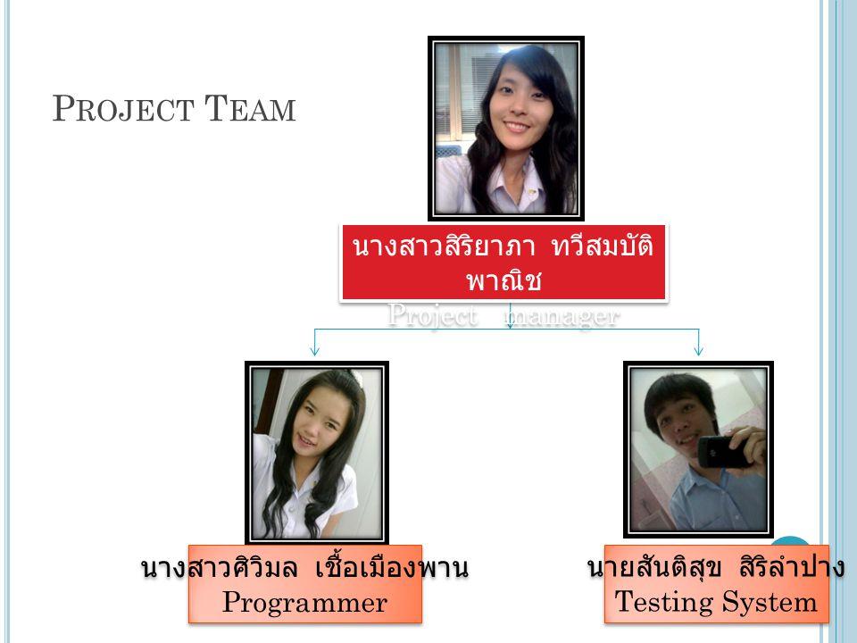 Project Team นางสาวสิริยาภา ทวีสมบัติพาณิช Project manager