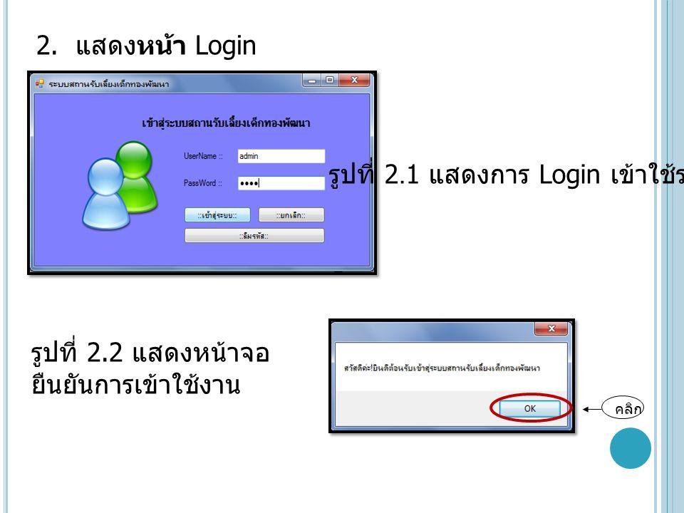 รูปที่ 2.1 แสดงการ Login เข้าใช้ระบบ