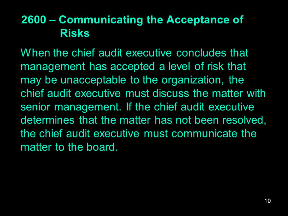 2600 – Communicating the Acceptance of Risks