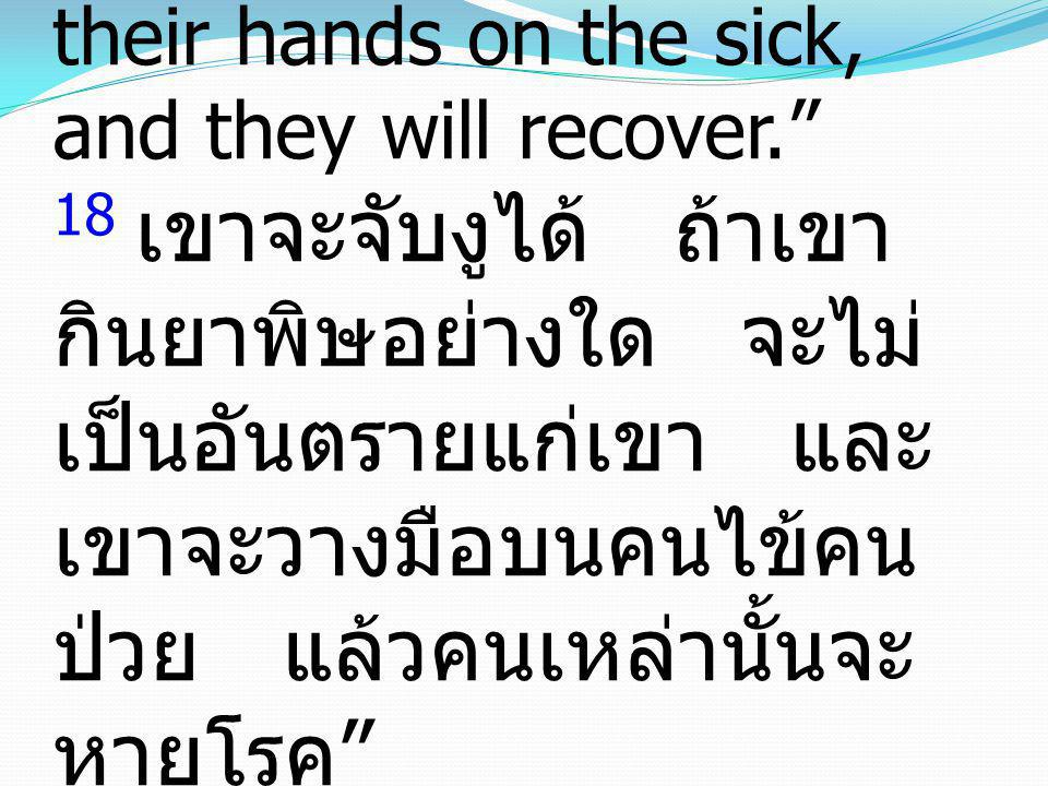 18 they will pick up serpents with their hands; and if they drink any deadly poison, it will not hurt them; they will lay their hands on the sick, and they will recover. 18 เขาจะจับงูได้ ถ้าเขากินยาพิษอย่างใด จะไม่เป็นอันตรายแก่เขา และเขาจะวางมือบนคนไข้คนป่วย แล้วคนเหล่านั้นจะหายโรค