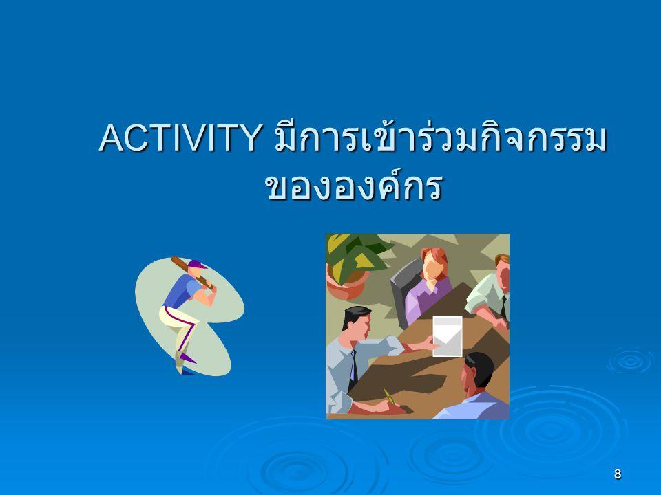 ACTIVITY มีการเข้าร่วมกิจกรรมขององค์กร