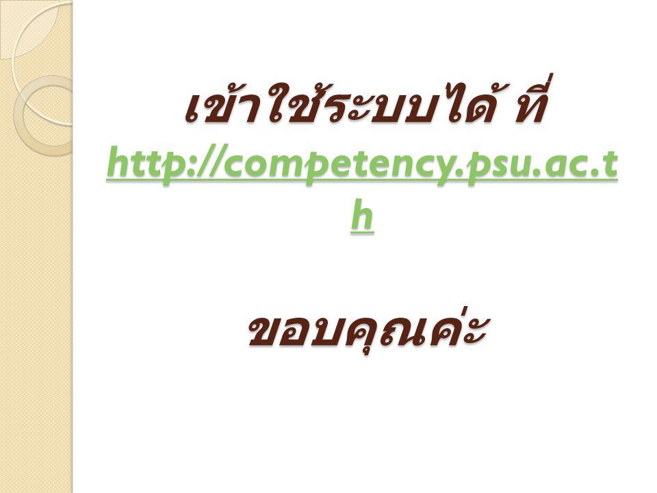 เข้าใช้ระบบได้ ที่ http://competency.psu.ac.th ขอบคุณค่ะ