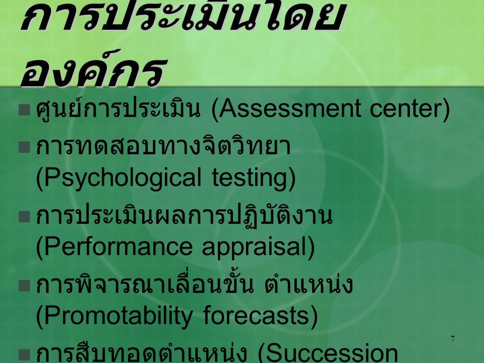 การประเมินโดยองค์กร ศูนย์การประเมิน (Assessment center)