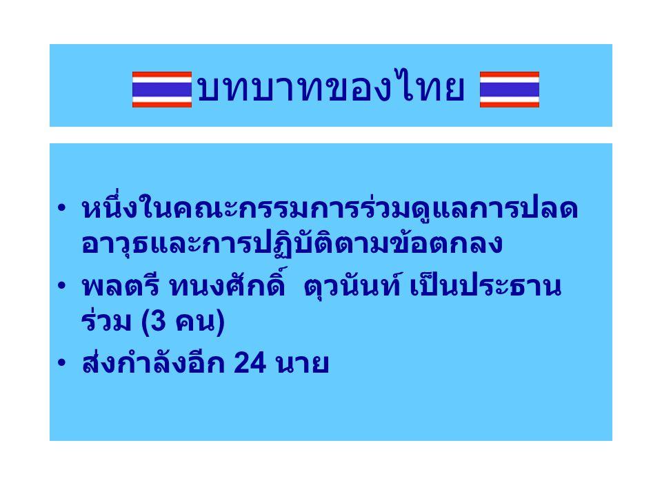 บทบาทของไทย หนึ่งในคณะกรรมการร่วมดูแลการปลดอาวุธและการปฏิบัติตามข้อตกลง. พลตรี ทนงศักดิ์ ตุวนันท์ เป็นประธานร่วม (3 คน)