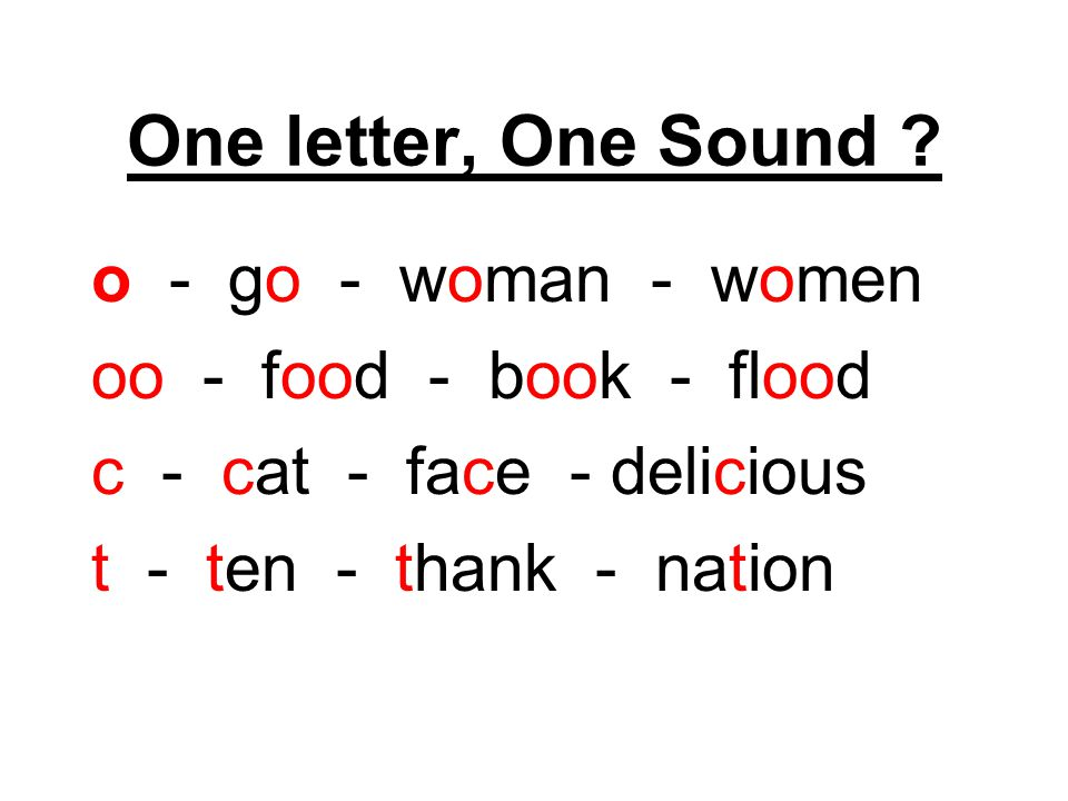 One letter, One Sound o - go - woman - women