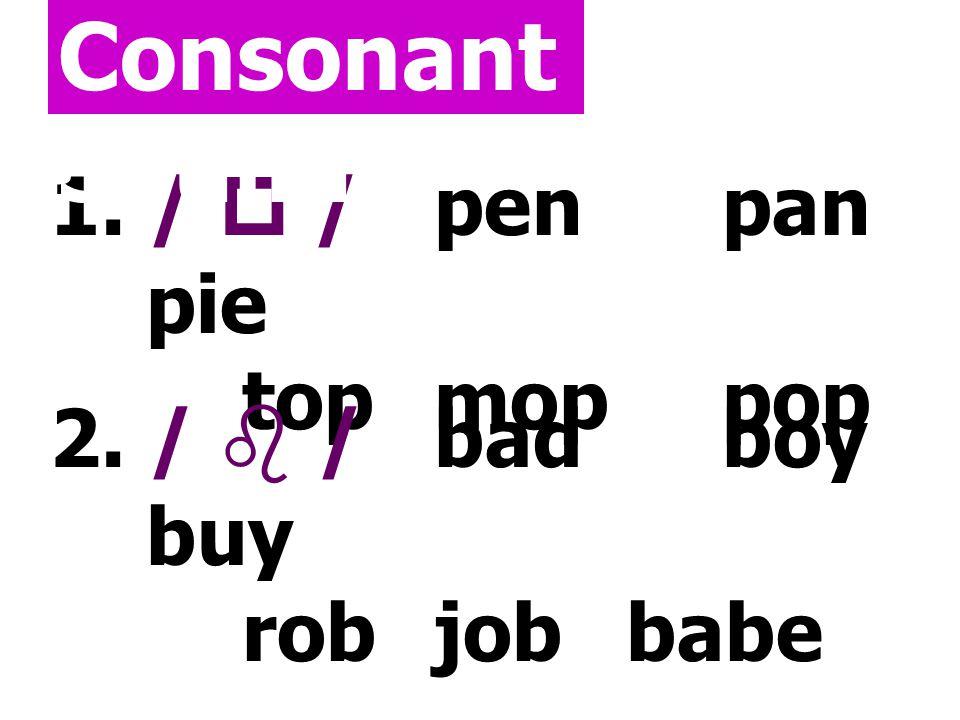 Consonant Sounds 1. /  / pen pan pie top mop pop 2. /  / bad boy buy