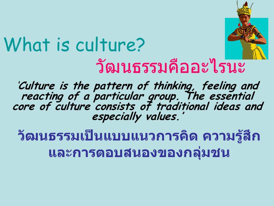 วัฒนธรรมเป็นแบบแนวการคิด ความรู้สึก และการตอบสนองของกลุ่มชน