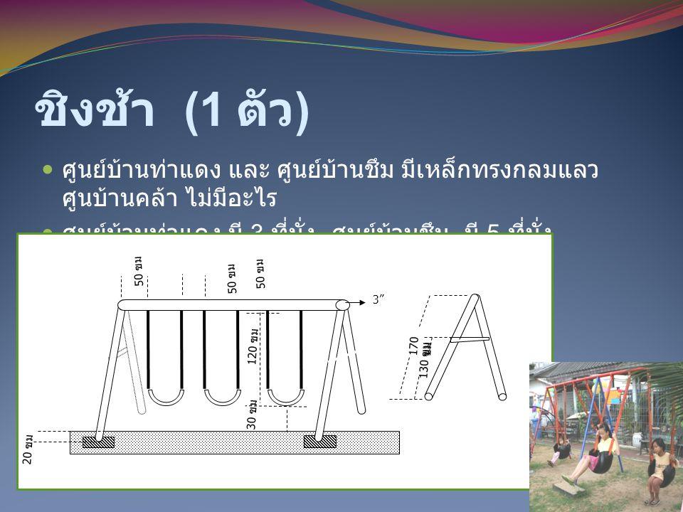 ชิงช้า (1 ตัว) ศูนย์บ้านท่าแดง และ ศูนย์บ้านชึม มีเหล็กทรงกลมแลว ศูนบ้านคล้า ไม่มีอะไร. ศูนย์บ้านท่าแดง มี 3 ที่นั่ง ศูนย์บ้านชึม มี 5 ที่นั่ง.