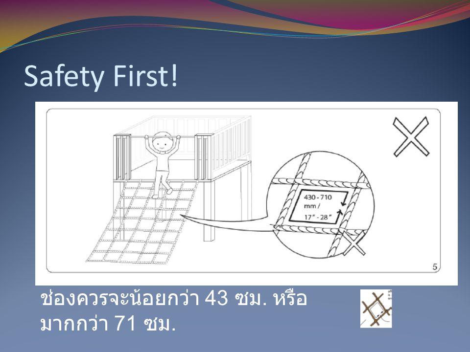 Safety First! ช่องควรจะน้อยกว่า 43 ซม. หรือมากกว่า 71 ซม.