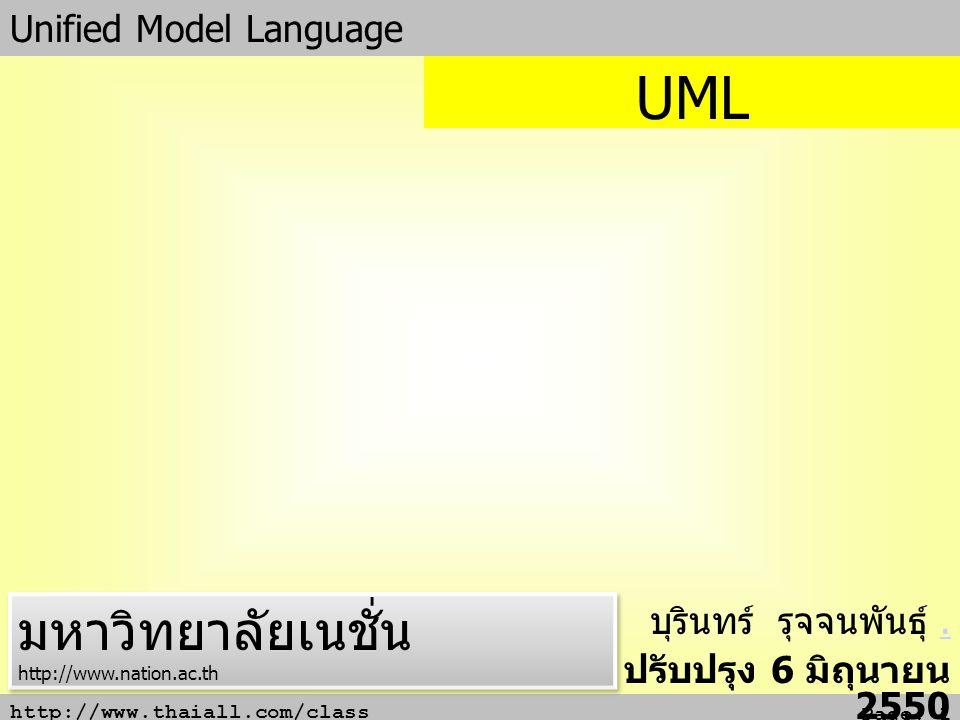 UML มหาวิทยาลัยเนชั่น Unified Model Language บุรินทร์ รุจจนพันธุ์ .