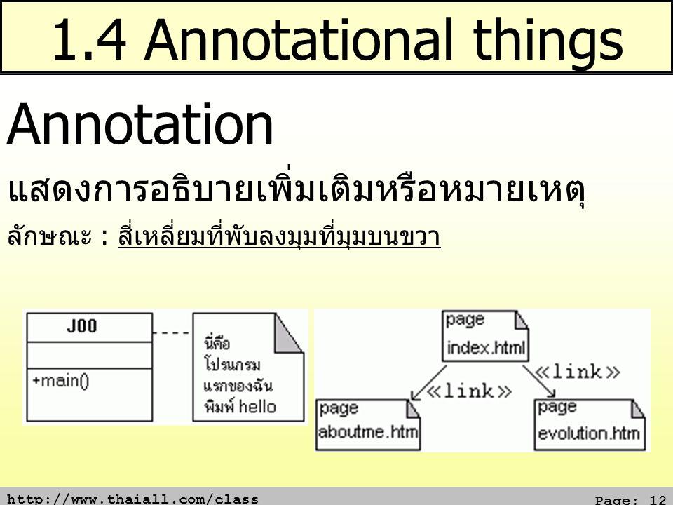 1.4 Annotational things Annotation แสดงการอธิบายเพิ่มเติมหรือหมายเหตุ