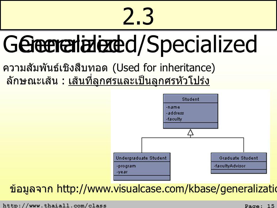 2.3 Generalized/Specialized