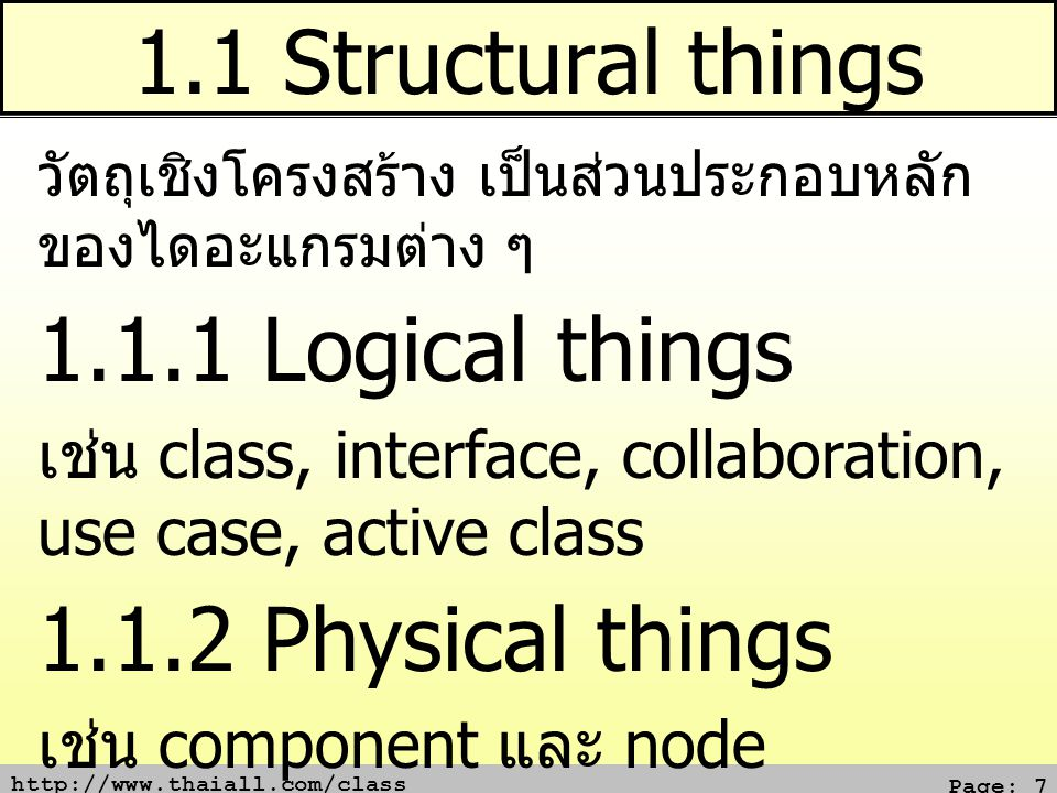 1.1 Structural things 1.1.1 Logical things 1.1.2 Physical things